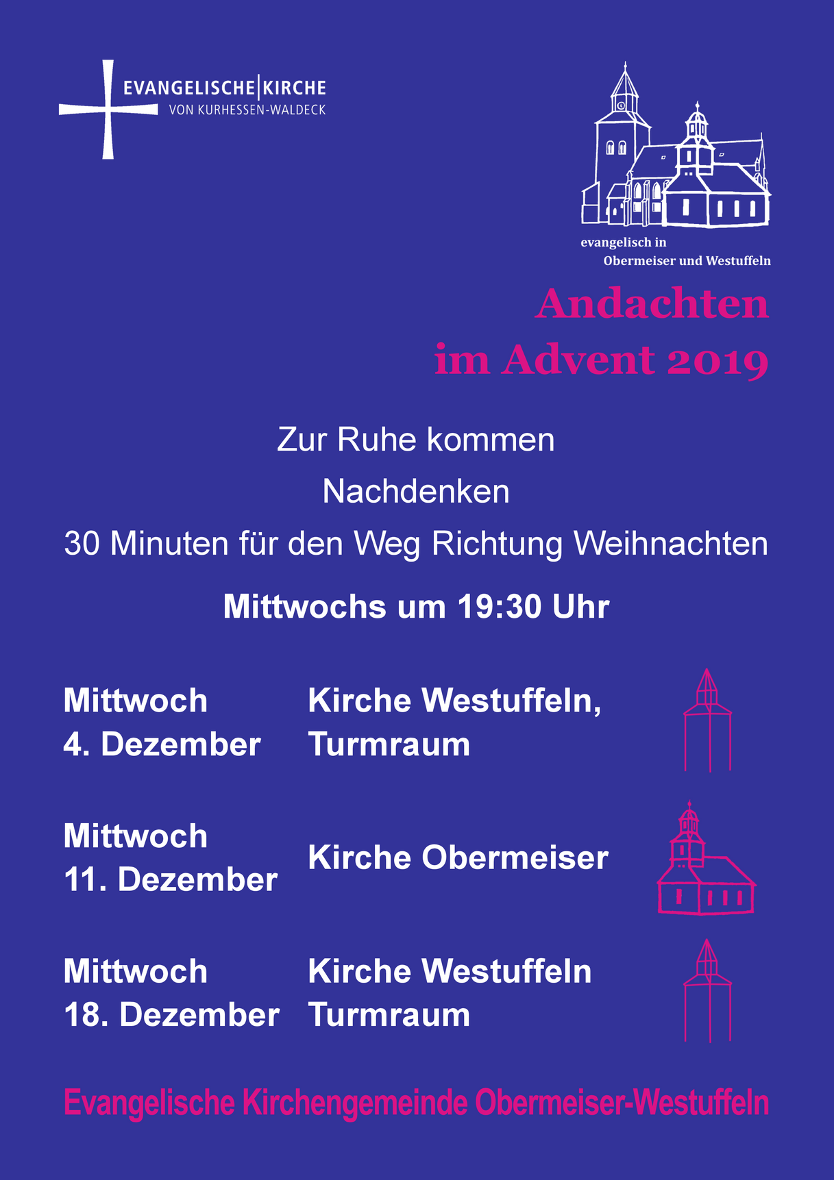 Plakat Turmandachten im Advent 2019